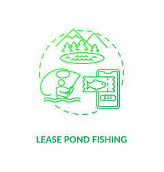 Lease pond fishing concept icon vector