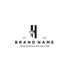 Letter h palm logo design concept vector