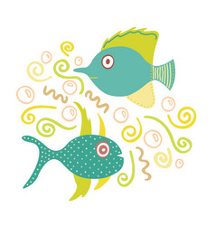 Lovely hand-drawn fishes vector