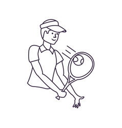man tennis playing with racket and cap sport vector image