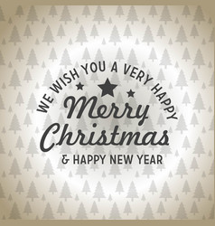 merry christmas and happy new year tree pattern vector image