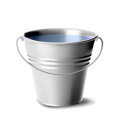 Metal bucket full water classic jar vector
