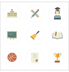 Modern flat style school icons vector image
