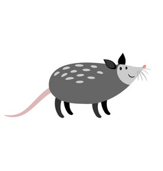 opossum cute cartoon animal icon vector image