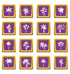 palm tree icons set purple vector image