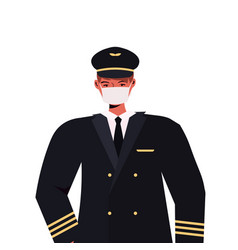 pilot in uniform wearing mask to prevent vector image