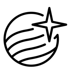 Planet and star icon outline style vector