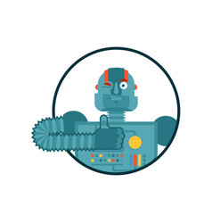 robot thumbs up and winks cyborg happy emoji vector image