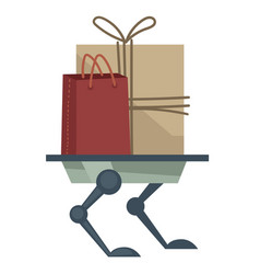 robotic appliance delivering parcels and bags vector image