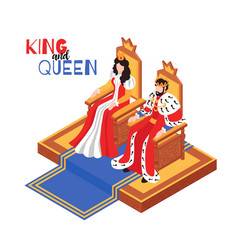 Royal couple isometric composition vector