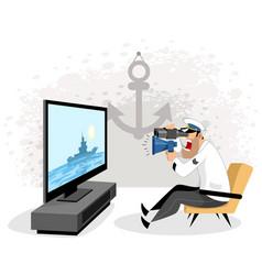 Sailor watching tv vector