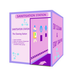 sanitisation station tunnel for disinfection and vector image