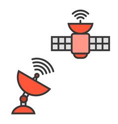 Satellite and satellite dish vector