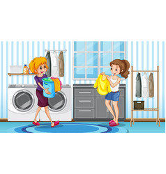 Scene with two women in laundry room vector