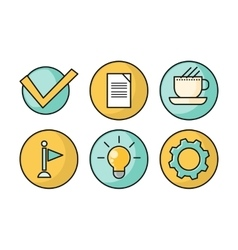 set business icons in flat style design vector image