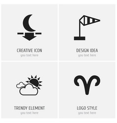 Set of 4 editable climate icons includes symbols vector