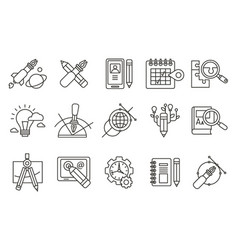 set of abstract line art icons digital vector image