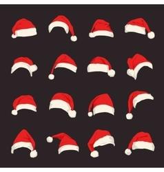 Set of red Santa Claus hats vector image