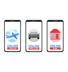 set of smartphones with online check rent a car vector image