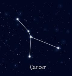 Sign zodiac cancer night sky background vector