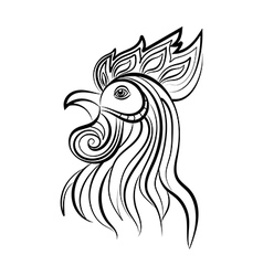 Silhouette of the cock head vector image
