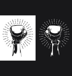 Silhouette raised hand wearing boxing glove vector