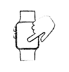 sketch hand touchscreen smart watch technology vector image