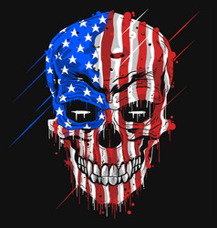 skull head america flag usa color with grunge ed vector image