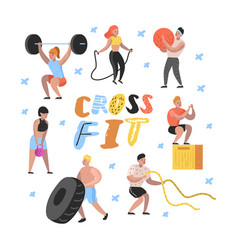 Sport gym flat people characters fitness vector
