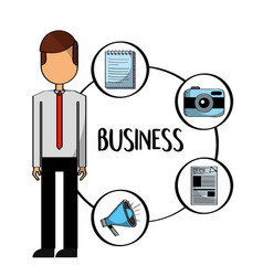 standing businessman character communication items vector image