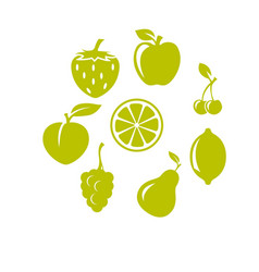 strawberry apple cherries and other fruit icons vector image