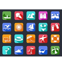 summer beach flat icons set with long shadow vector image