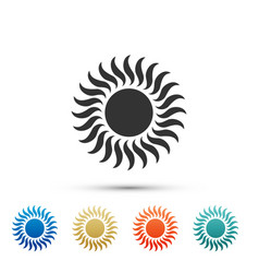 sun icon isolated on white background set vector image