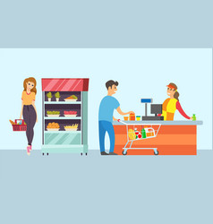 supermarket store cashier and customers vector image