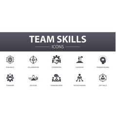 Team skills simple concept icons set contains vector