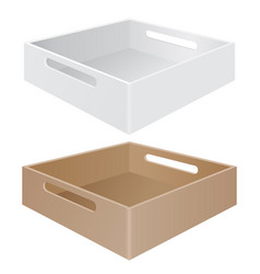 tray box with grab handles white and brown vector image