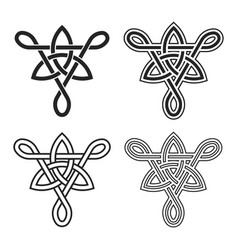 triquetra in triangle celtic knotwork symbols set vector image