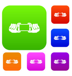 two hands holding mobile phone set collection vector image vector image