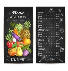 Vegetarian menu of vegetables fruits chalk price vector