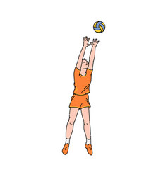 volleyball player woman in motion vector image