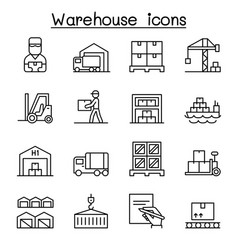 Warehouse delivery shipment logistic icon set in vector