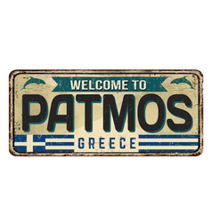 welcome to patmos vintage rusty metal sign vector image