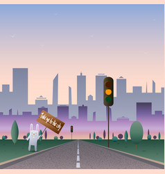 white rabbit hitchhiking rabbit on the road to vector image