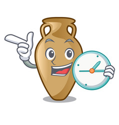 With clock amphora character cartoon style vector