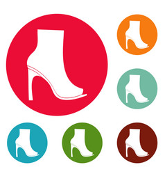 woman shoes icons circle set vector image