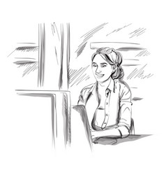 Woman working on a laptop storyboard vector