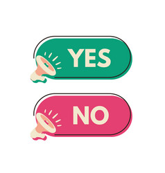 Yes and no megaphone labels for design or print vector
