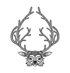 zentangle stylized deer hand drawn sketch vector image