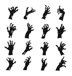 zombie hands silhouette set black creepy symbol vector image