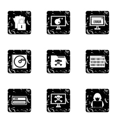 Cracking icons set grunge style vector image vector image